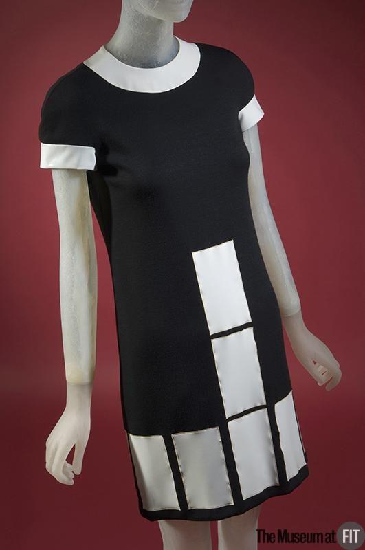 Dress Designer: Pierre Cardin 1922- Medium: Black wool and white vinyl Date: c.1969