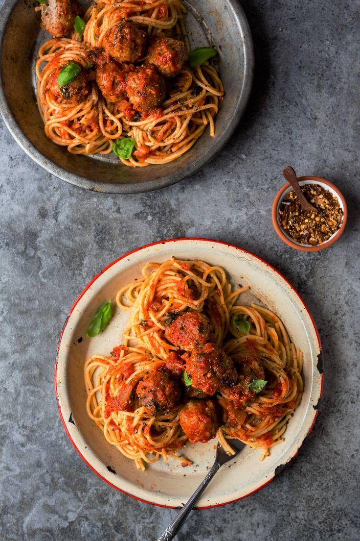 Spaghettis aux boulettes de dinde et porc