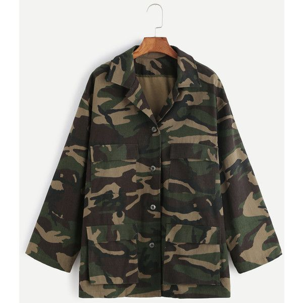 Olive Green Camo Print Multi Pocket Jacket ($36) ❤ liked on Polyvore featuring outerwear, jackets, green, camouflage jacket, green jacket, green military jacket, camoflage jacket and camoflauge jacket