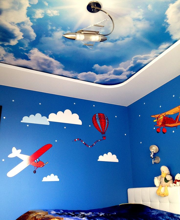 The sky with clouds on a stretch ceiling.