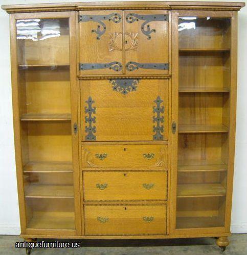 Photo Of Antique Turn Of Century Golden Oak Side By Side Double Bookcase  Secretary Desk