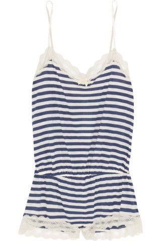 Eberjey|Maritime striped stretch-jersey playsuit|NET-A-PORTER