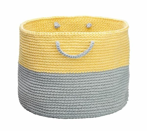yellow and grey storage basket Incy Interiors