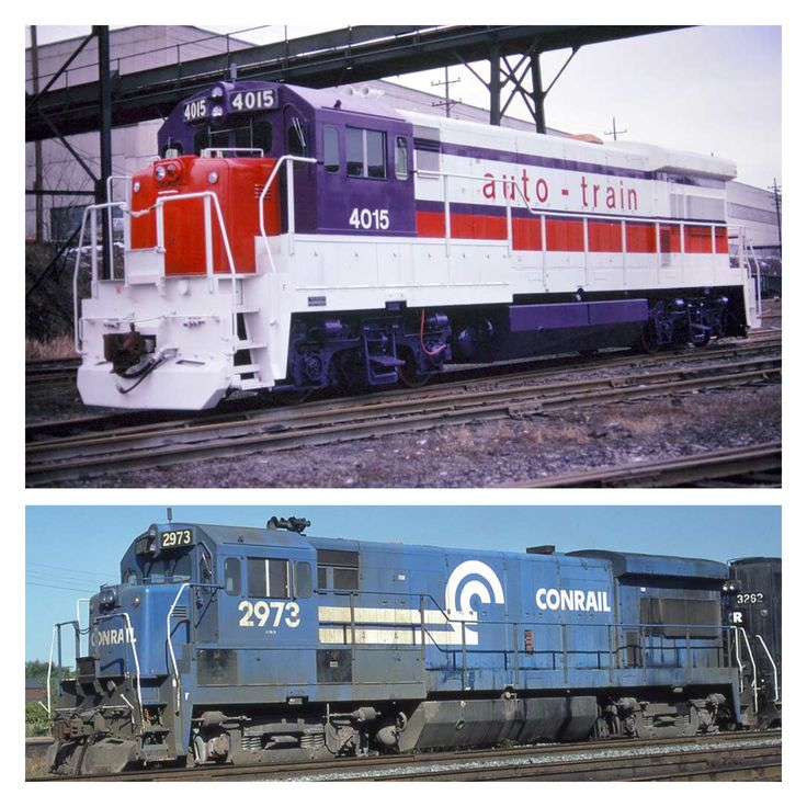 Top photo is Auto Train GE U36B 4015 at Erie, Pa. on 1-8-75.  4015 was part of a 4 unit order built in 1974 but never delivered account Auto Train financial problems.  They were re-trucked and sold to Conrail in 1976.  4015 became CR 2973 as shown in the bottom photo.