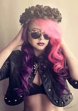 pastel goth / nu goth - love the hair colour and the curls