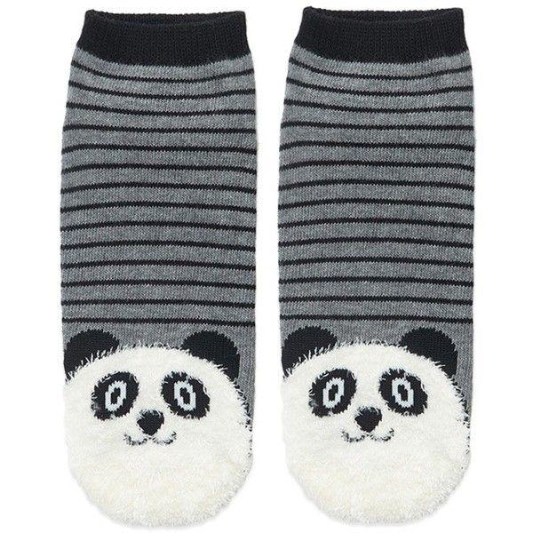 Forever21 Fuzzy Panda Stripe Socks (38.775 IDR) ❤ liked on Polyvore featuring intimates, hosiery, socks, striped socks, forever 21, stripe socks, panda socks and forever 21 socks