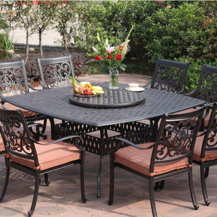 Lovely Black Wrought Iron Patio Furniture With Cushions And Lazy Boy Outdoor  Furniture On Cozy Hexagonal Pavers