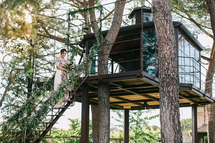 Tuscan Treehouse found on Airbnb - Floral Print Wedding Dress by Anna Fuca   Tuscan Treehouse Bridal Inspiration Shoot   Images by Stefano Santucci