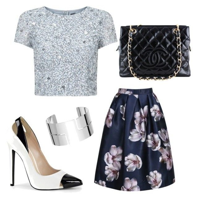 Pretty Floral Metallic by stylebyeliana on Polyvore featuring Adrianna Papell, Chanel, Dinh Van and lookoftheweek