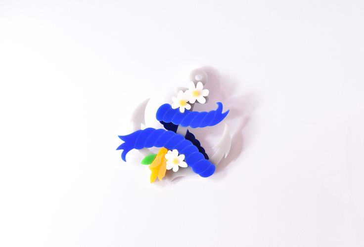 Buy our limited edition custom Sugar & Vice Lippy Anchor brooch - based on our logo and featuring gorgeous daisies and kowhai flowers.  #twolippyladies #nautical #noveltybrooch