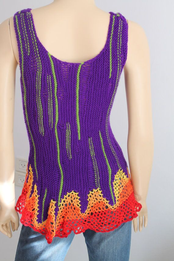 Luxury Rainbow Hand Knit Crochet Sweater Top by levintovich