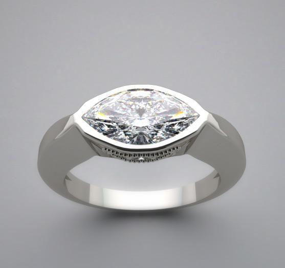 3 Stone Diamond Ring Bezel Settings