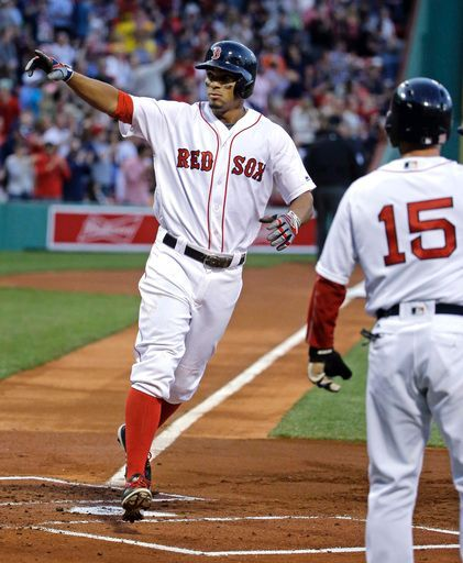 Boston Red Sox's Xander Bogaerts points to the fans as he crosses the plate after hitting a two-run home run, driving in Dustin Pedroia (15), during the first inning of a baseball game against the Houston Astros at Fenway Park, Thursday, May 12, 2016, in Boston. (AP Photo/Elise Amendola)  Boston Red Sox Team Photos - ESPN