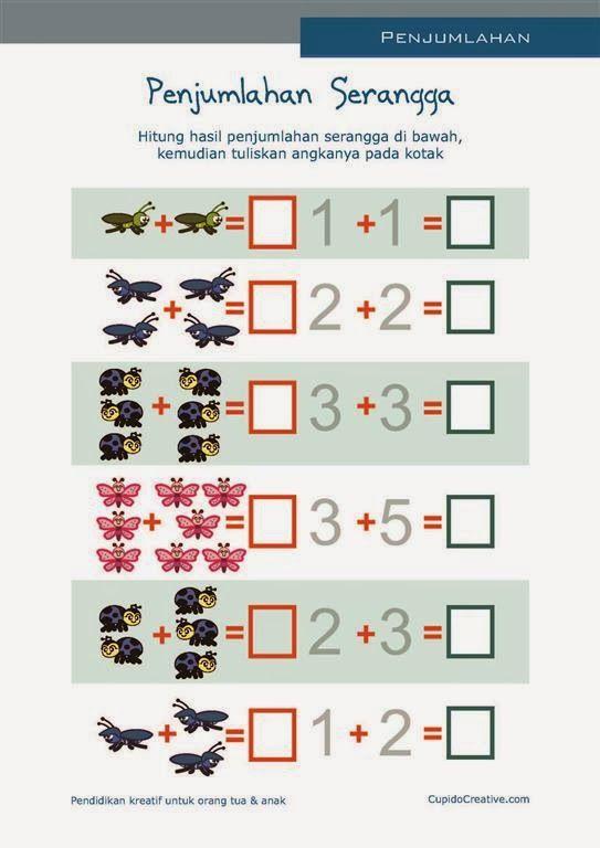 matematika PAUD, belajar anak TK, penjumlahan SD, angka 1-10, gambar serangga