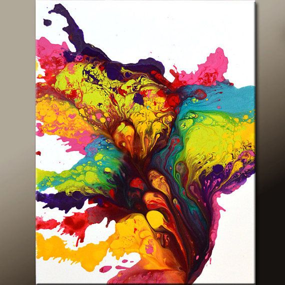 Abstract Canvas Art Painting 18x24 Original Contemporary Rainbow Art by Destiny Womack -  dWo - Filled with The Light
