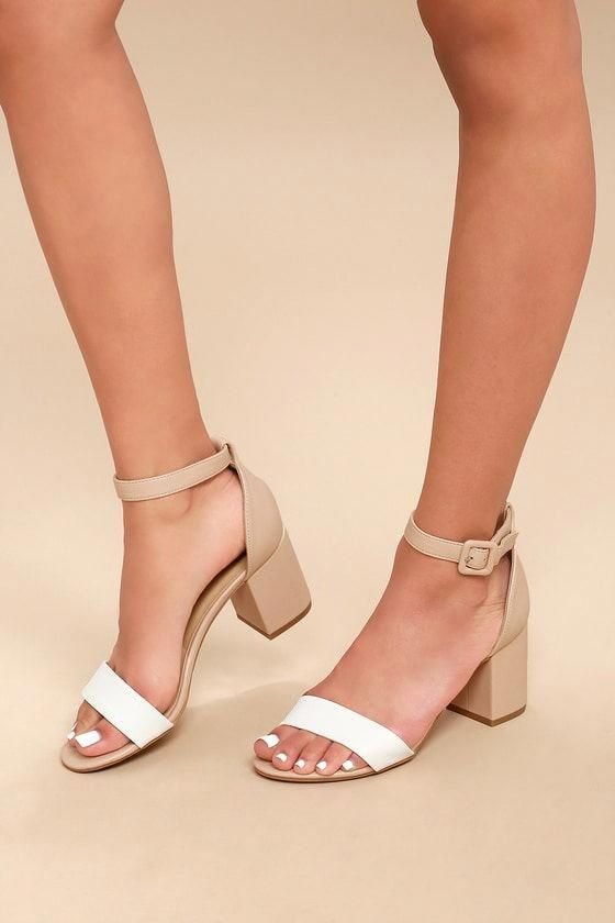123bc1f0de6d3 All In White and Nude Ankle Strap Heels 1  Promshoes