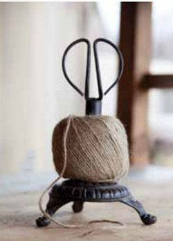 Cast Iron Stand Twine Holder and Scissors - traditional - desk accessories - Farmhouse Decor