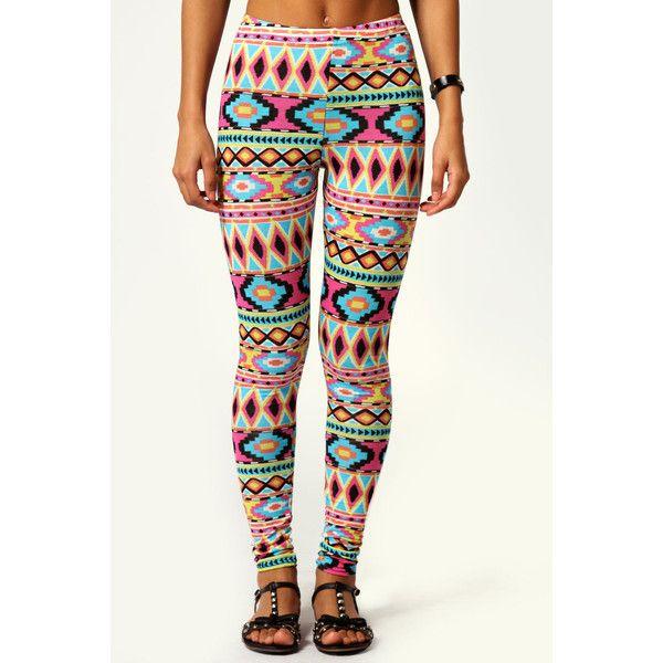 Boohoo Rebekka Aztec Print Leggings ($16) ❤ liked on Polyvore featuring pants, leggings, bottoms, jeans, womens trousers, rayon pants, women pants and aztec print leggings