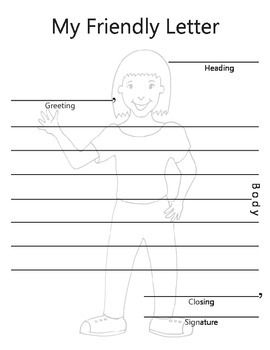Two templates for students to use in creating a friendly letter. Both a girl and boy letter are provided. The parts of letter writing are designated in the template to help the students learn the different parts of a friendly letter. A fun graphic of a young person is positioned by the parts of letter writing.