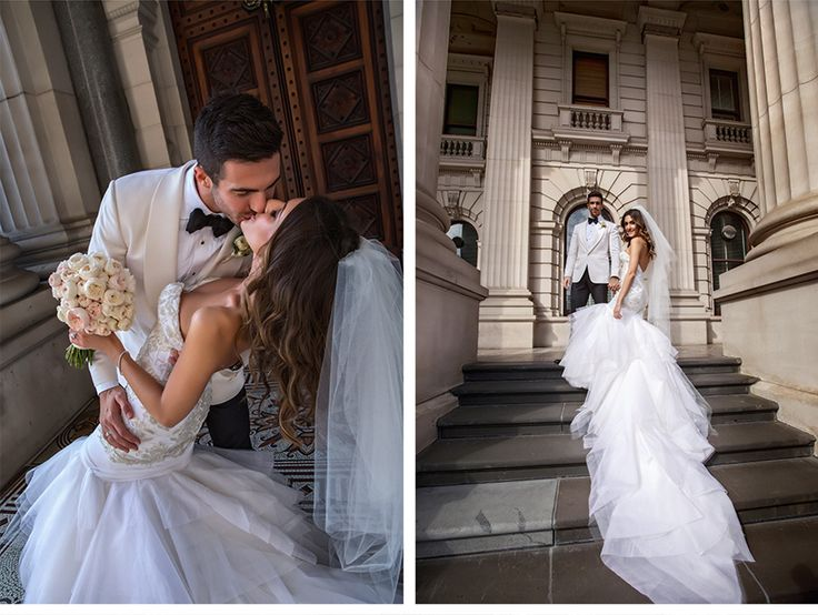 Fashion-Inspired Wedding in Melbourne, Australia - Be inspired by Vicki & Stephen's luxurious and fashionable wedding in Melbourne, Australia #wedding #luxury #couture #fashion #inspired #melbourne #australia #greek #orthodox #bride #groom #portrait #just #married #steps