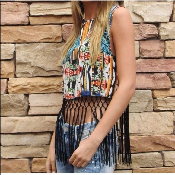 Host Pick Multi color crop top!❤️ Multi color crop top with awesome black fringe! Apricot Lane Tops Crop Tops