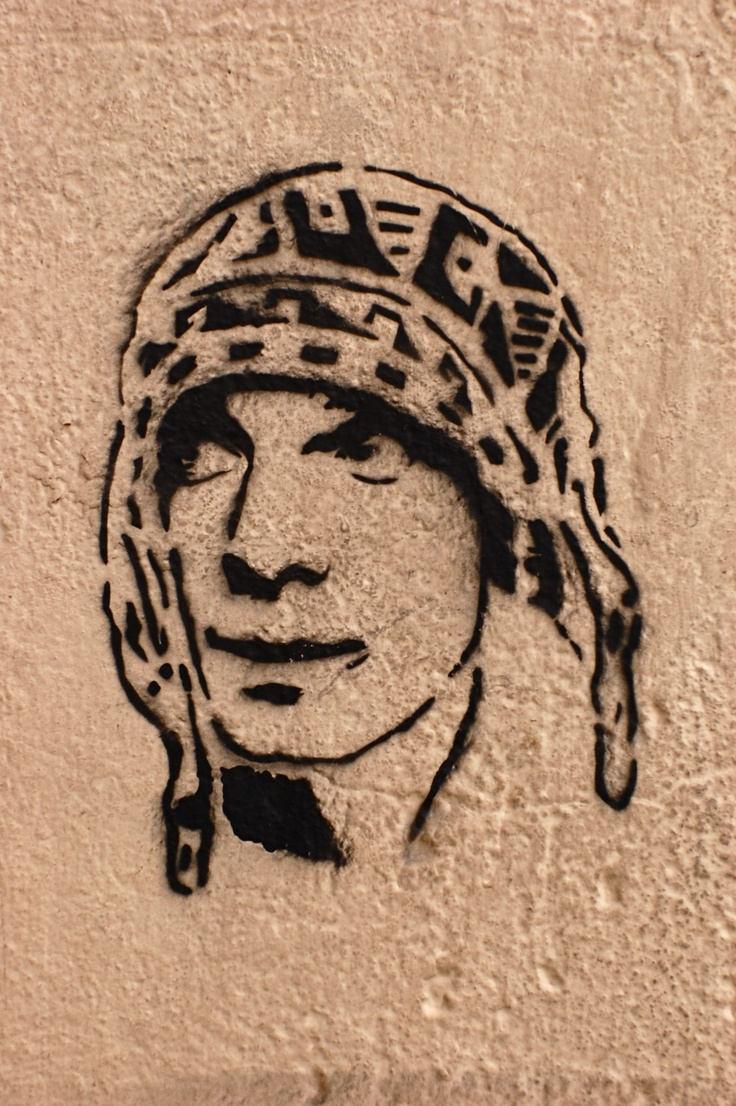 a manu chao (latin alt musician) stencil in San Telmo, Buenos Aires, Argentina