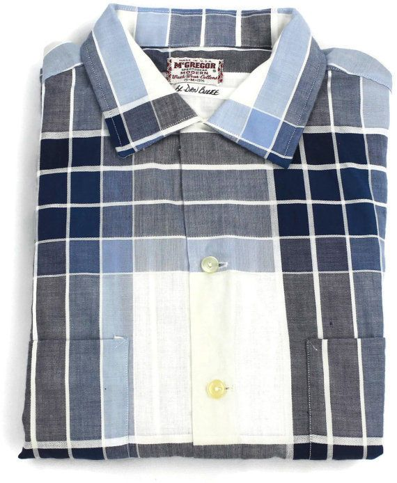 Vintage McGregor Shirt Medium Plaid Short Sleeve Rockabilly Western 50's USA Sz  #McGregor #ButtonFront