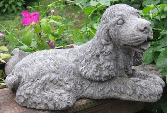 Large Concrete Cocker Spaniel Dog Statue By