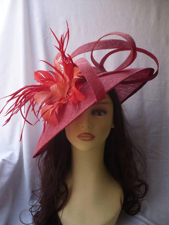 Sombrero Rojo con Plumas Pamela Roja Plumas Sombrero Sinamay