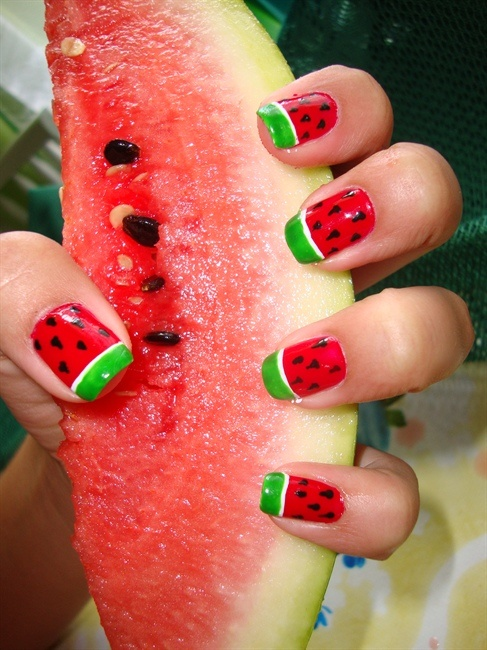 Watermelon nails found on the Nail Art Gallery website