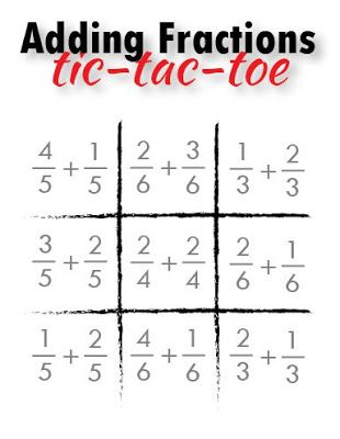 Adding Fractions Tic-Tac-Toe {free printable}                                                                                                                                                                                 More