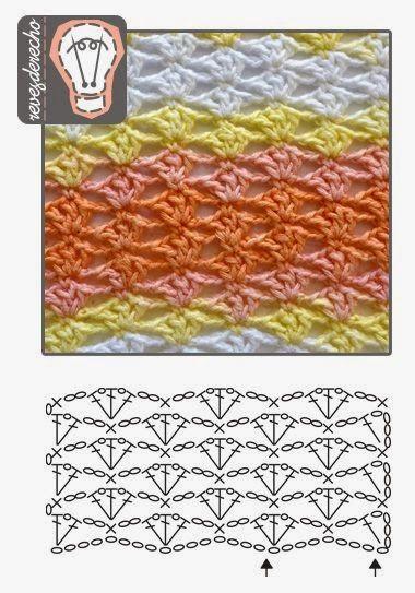 Easy checkered crochet pattern. No description, chart only. ✿•Teresa Restegui http://www.pinterest.com/teretegui/ •✿
