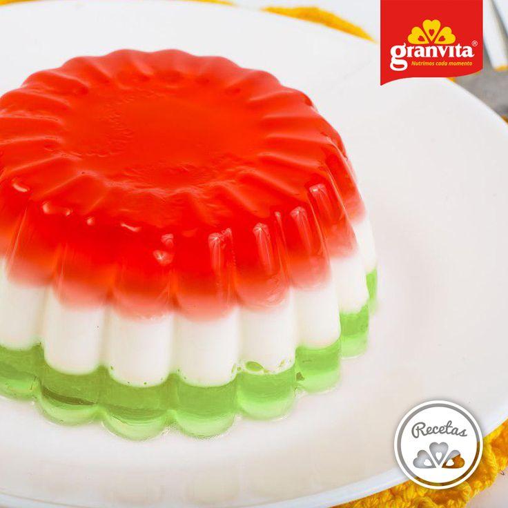#Receta: Gelatina tricolor.   ¡Para celebrar a nuestra bandera!