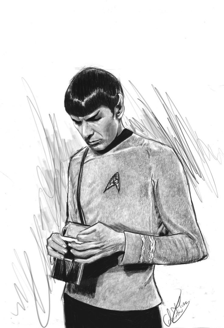 Spock by Amanda Tolleson Pencil sketch on marker pape