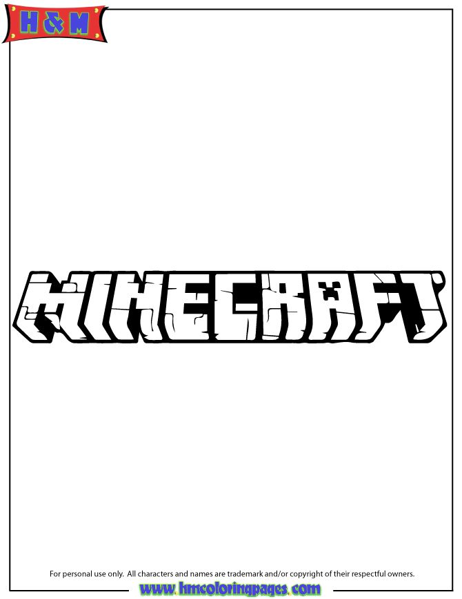 Minecraft Logo Coloring Page