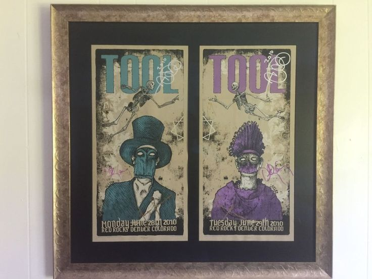 Tool Framed Signed 2010 Red Rocks Concert Posters Autographed Rare
