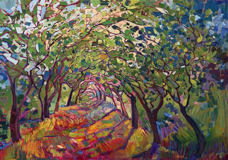 Modern expressionist Erin Hanson paints landscapes in vivid color and lots of texture.