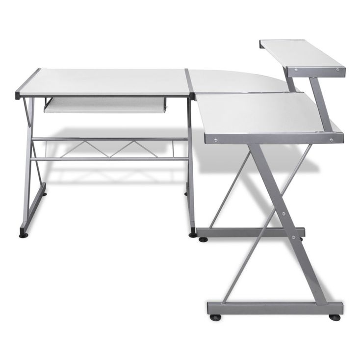 white computer desk workstation pull out keyboard tray compact writing space