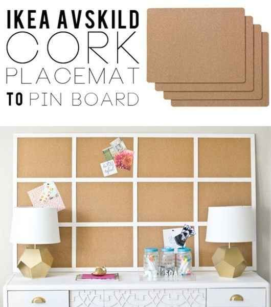 Avskild cork placemats are an inexpensive way to create a large bulletin board.