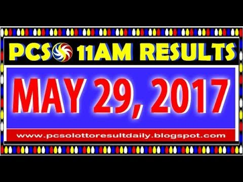 PCSO MidDay - 11AM Results May 29, 2017 (SWERTRES & EZ2)