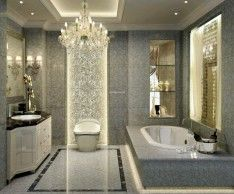 Neutral Bathroom Design Beautified With Luxurious Chandelier On Ceiling