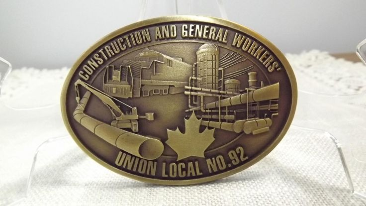 Vintage Union Collectible Belt Buckle, Construction and General Workers' Union Local No.92 Advertising Buckle for Serious Collectors by OutrageousVintagious on Etsy