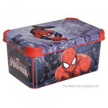 8lt Spiderman Decorative Plastic Storage Box (Pack of 3)