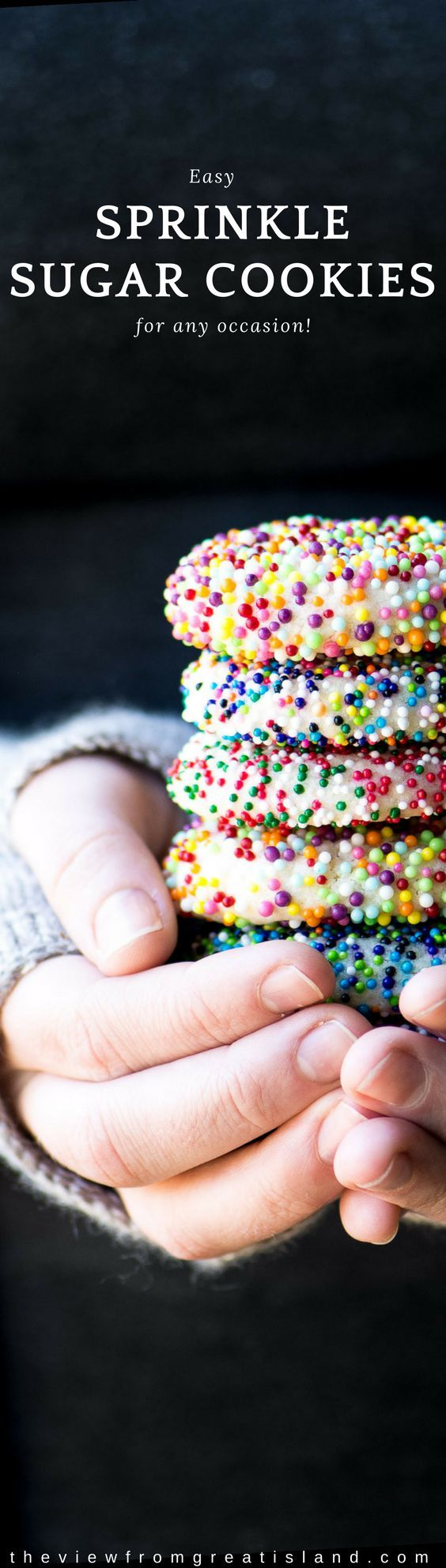 Sprinkle Sugar Cookies ~ customize these easy sugar cookies for any occasion, from Halloween and Christmas to Valentine's Day, Easter, and the 4th of July ~ just change up the colors! #sugarcookies #sprinkles #easycookies #kidsbaking #Christmascookies #eastercookies #valentine'sdaycookies #Stpatricksdaycookies #springcookies #babyshower #halloween #holidaycookies #dessert
