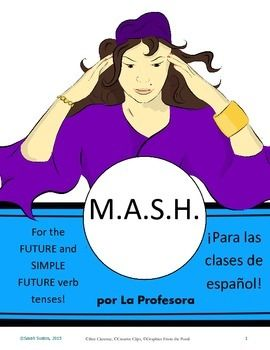 Spanish M.A.S.H. is a lot of fun and a great tool to help your students practice the Future Tense or the Simple Future Tense in Spanish!Your students are guided through a game of MASH and then prompted to write complete sentences using either The Future Tense or The Simple Future Tense (you choose what your students need to practice!).If you dont know how to play (or need a refresher), please  refer to the instructions on pages 3-4.  (If you are a more visual learner, I suggest watching a…