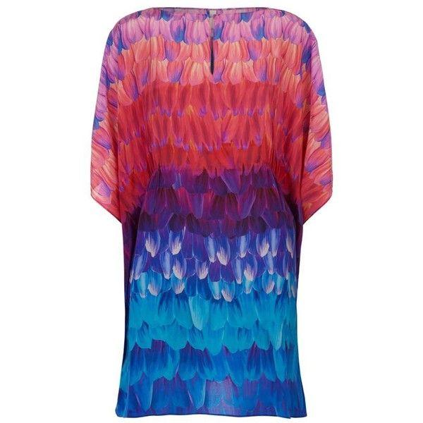 Gottex Printed Silk Kaftan Dress (£330) ❤ liked on Polyvore featuring dresses, silk caftan, beach caftan, blue print dress, boatneck dress and silk kaftan dress