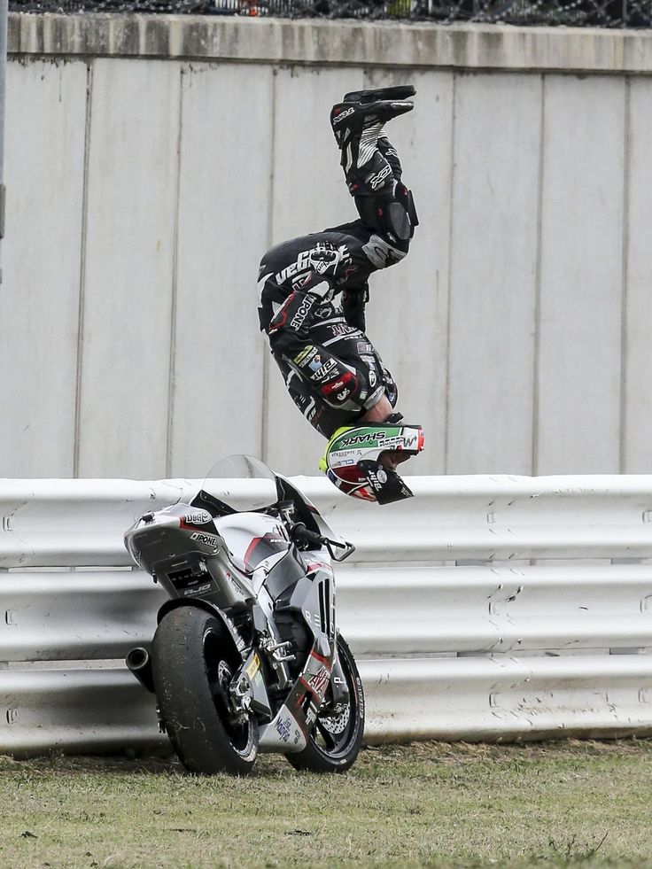 Kalex rider Johann Zarco of France performs a somersault after winning the Moto2 race of the Grand Prix of San Marino and Riviera di Rimini at the Misano circuit in Misano Adriatico, Italy. Pasquale Bove, EPA