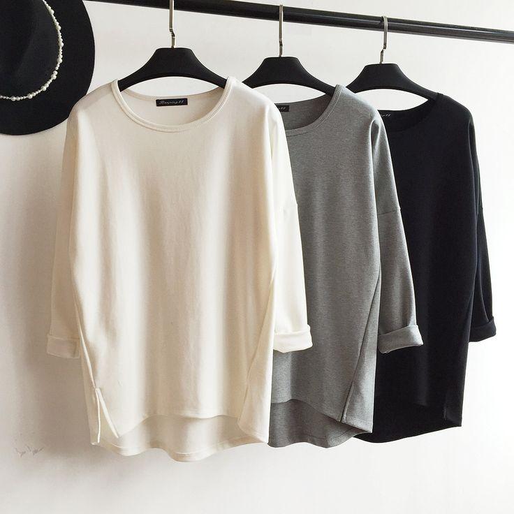 Хорошее качество!  Твердая цветная футболка с длинными рукавами открытая вилка качается свободно дикая рубашка женская осень и зима - Taobao