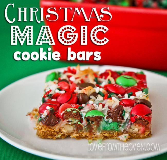 Christmas Magic Cookie Bars ::: Love From The Oven