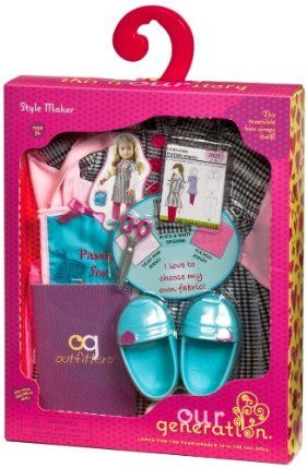 "Our Generation Style Maker Dressmaker Outfit For 18"" Dolls by Toysmith. $16.99. Compatible with American Girl and most 18"" dolls and accessories. All Our Generation packaging is made from recyclable materials that are easily recycled again. Comes with 1 cute shirt, 1 pair of leggings, 1 pair of shoes, 1 pair of socks, 1 purse, 1 fashion pattern, 1 color chart and 1 pair of scissors, and 1 OG Outfitter Catalog. From the fashionable and fun line of Our Generation dol..."